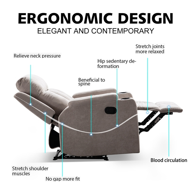 Recliner Chair With 2 Cup Holders for Theater Seating  3