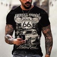 Camiseta de verano para hombre, camisa de manga corta con estampado de patrón 66, moda para parejas, ropa de gran tamaño, 2021
