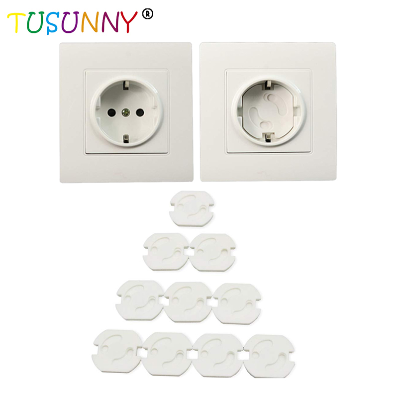TUSUNNY 10pcs Baby Safety Rotate Cover 2 Hole Round European Standard Children Against Electric Protection Socket Security Locks