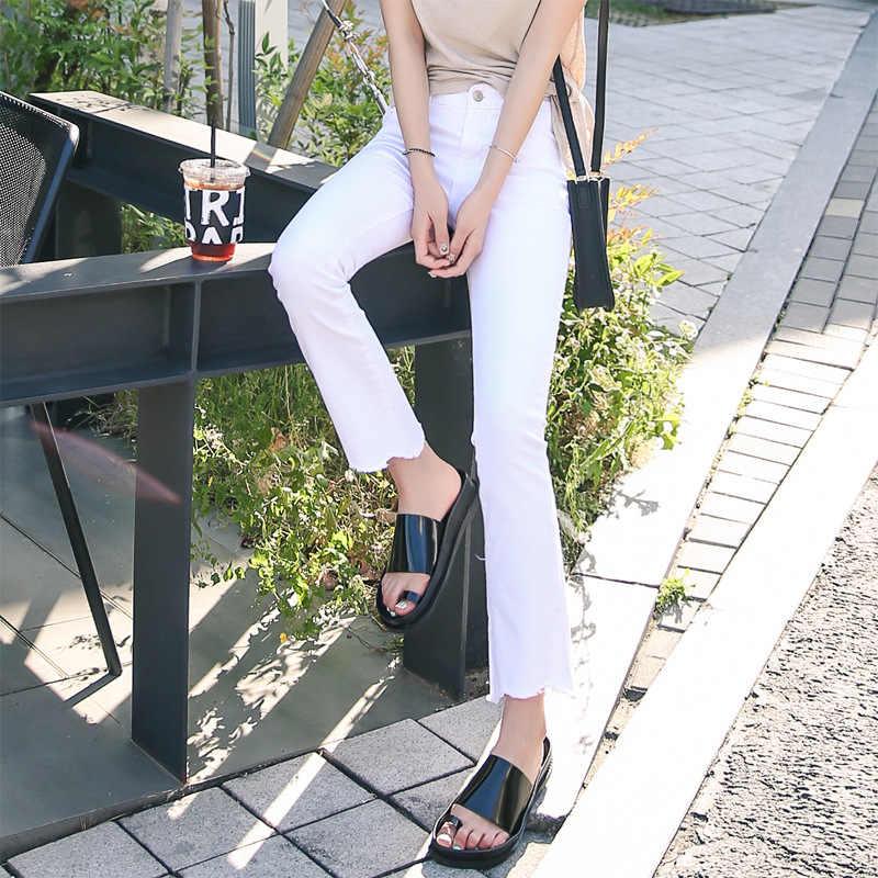 Bell-Bottoms Wanita Sembilan Bagian Celana Ibu Jeans Tipis Rumbai Pinggang Tinggi Quarter Micro Horn Musim Panas Bebas Plus Ukuran shein Vadim