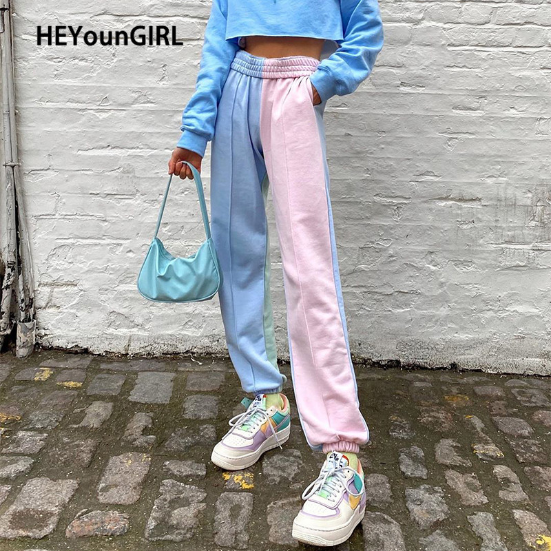 HEYounGIRL Colorful Patchwork Casual Track Pants Women Loose High Waist Long Trousers Ladies Korean Fashion Sweatpants Summer