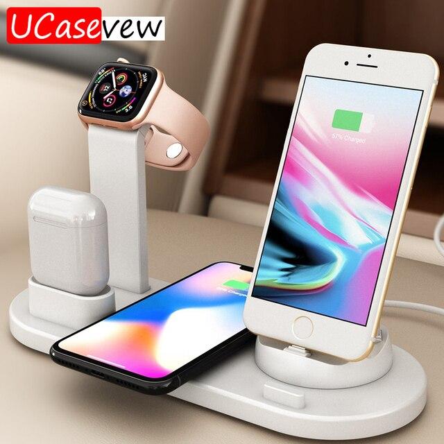Qi Chargeur Sans Fil Support de Quai pour Apple Montre 5 4 3 2 1 iPhone 11 Xs Xr 8 Plus Airpods Pro 10W Station De Charge Rapide Sans Fil