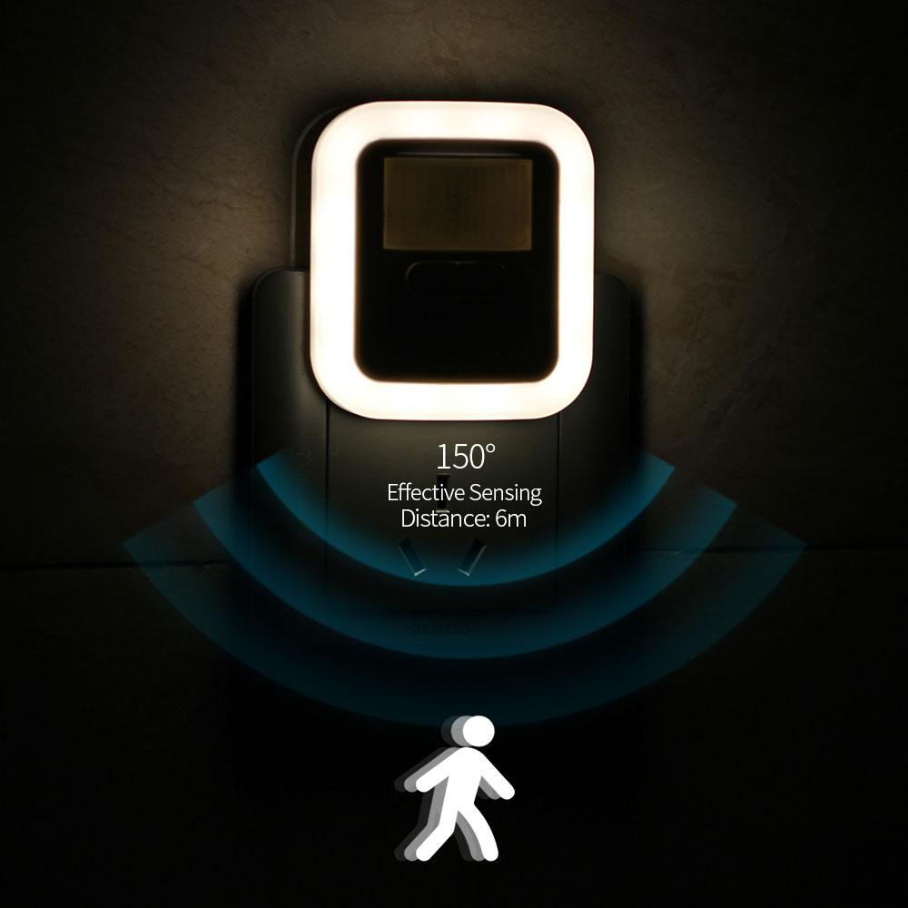 LED Plug in Motion Sensor Light Wall Night Lamp Light 30s/60s/90s/120s Lighting Time Adjustable for Living Room Night Light
