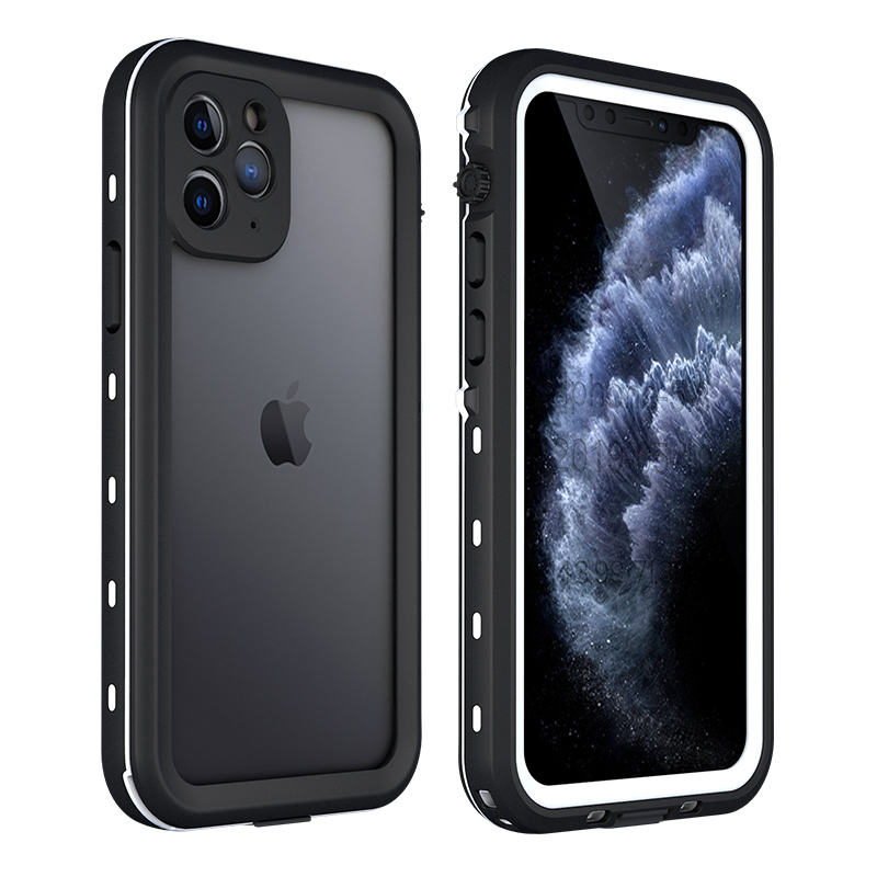 Shellbox ip68 waterproof case for iphone 11 pro max shockproof silicone case for iphone x xr xs max transparent armor cover