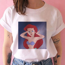 Linda sirena princesa dibujos animados Harajuku impresión divertida salvaje camiseta verano cómodo calle mujeres camiseta verano nueva camiseta femenina