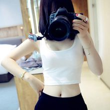 Summer Sexy Top Slim Render Short Crop Top Women Sleeveless U Croptops Tank Tops Solid Fashion Vest Tube Tops Woman Clothes(China)