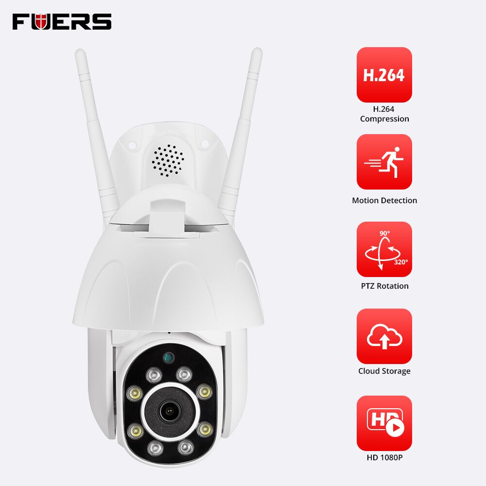 FRUERS 1080P Outdoor Wireless WiFi Waterproof IP Camera App Controlled Two way radio Full Color Night Vision