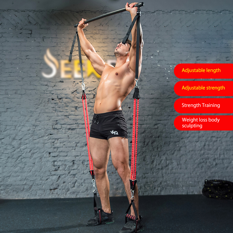Resistance Band With Strength Training Bar For Men Rubber Loop Tube Bands Body Workout Fitness Stick Slimming Exercise Bar HW207
