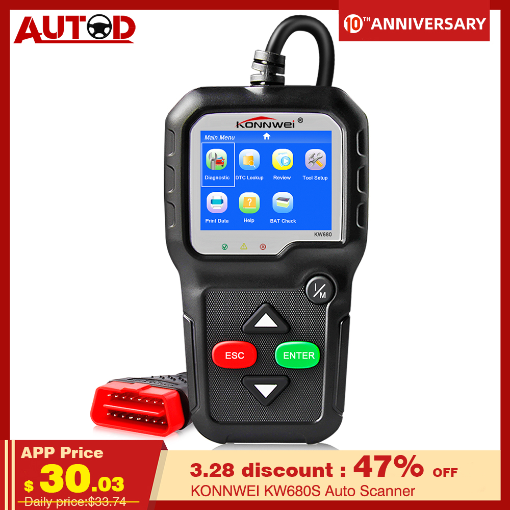 OBD2 Scanner KONNWEI KW680S Auto Diagnostic Tool Full Function Auto Scanner Multi-Language OBD 2 Coder Reader