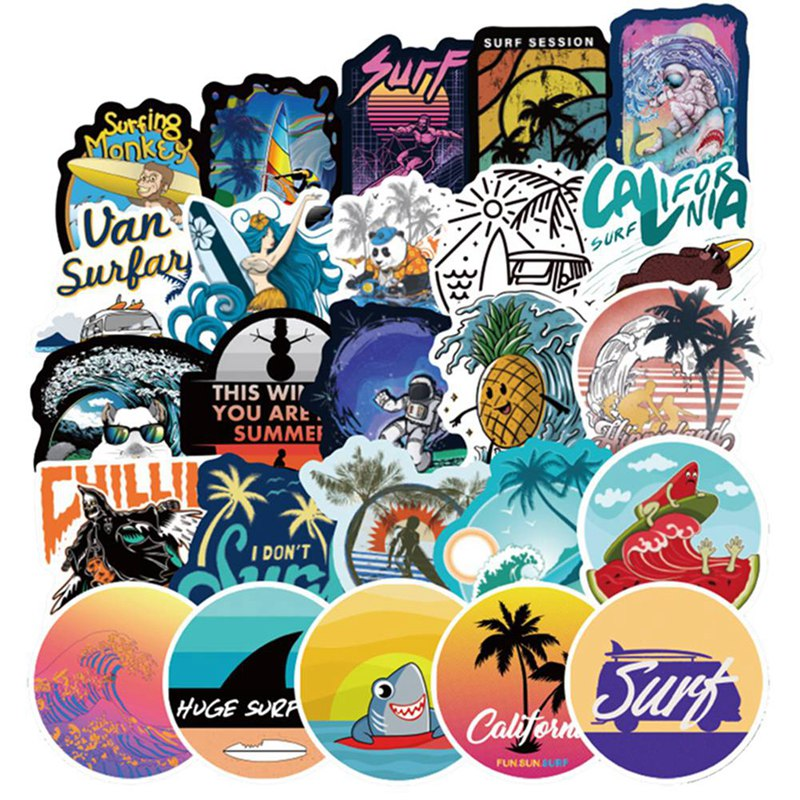 105 PCS Summer Surfing Sticker Beach Travel Graffiti Surf Stickers DIY For Surfboard Laptop Luggage Bicycle Tablet Water Bottle