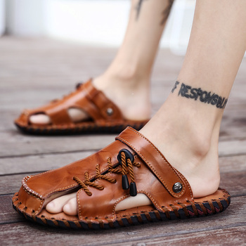 2020 New Genuine Leather Sandals Man Shoes Designer Beach Sandals Comfort Black Brown Slides Slippers Roman Soft Flats Sandals