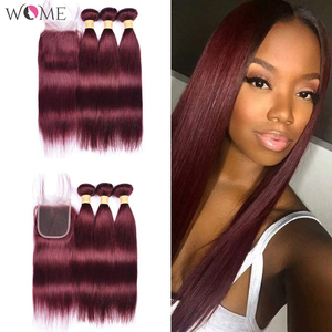 Image 2 - WOME Pre colored 99j Red Wine Burgundy Human Hair Bundles With 4x4 Lace Closure Malaysian Straight Hair Extension Non remy