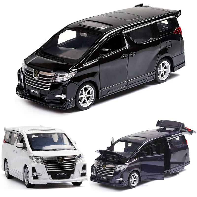 1:32 Toyota Alphard MPV Model Alloy Pull Back Car Model 4 Open The Door With Sound Light Kids Toys
