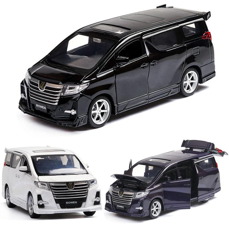 1:32 Toyota Alphard MPV Model Alloy Pull Back Car Model 4 Open The Door With Sound Light Kids Toys