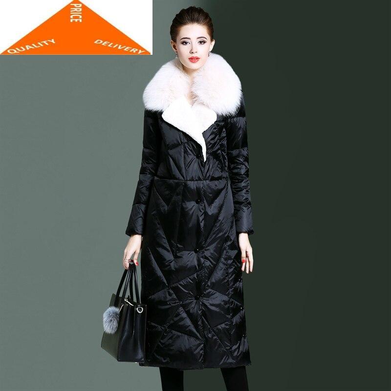Women Long Parka Winter Coat Female 20% Duck Down Jacket Real Fox Fur Collar Thick Warm Elegant Outwear 2020 LWL9222
