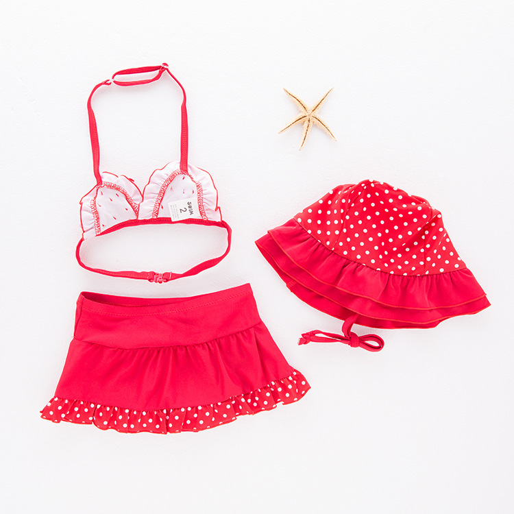 Girls' Two-piece Swimsuit Red And White Point Flower Swimwear Children Hot Springs Tour Bathing Suit