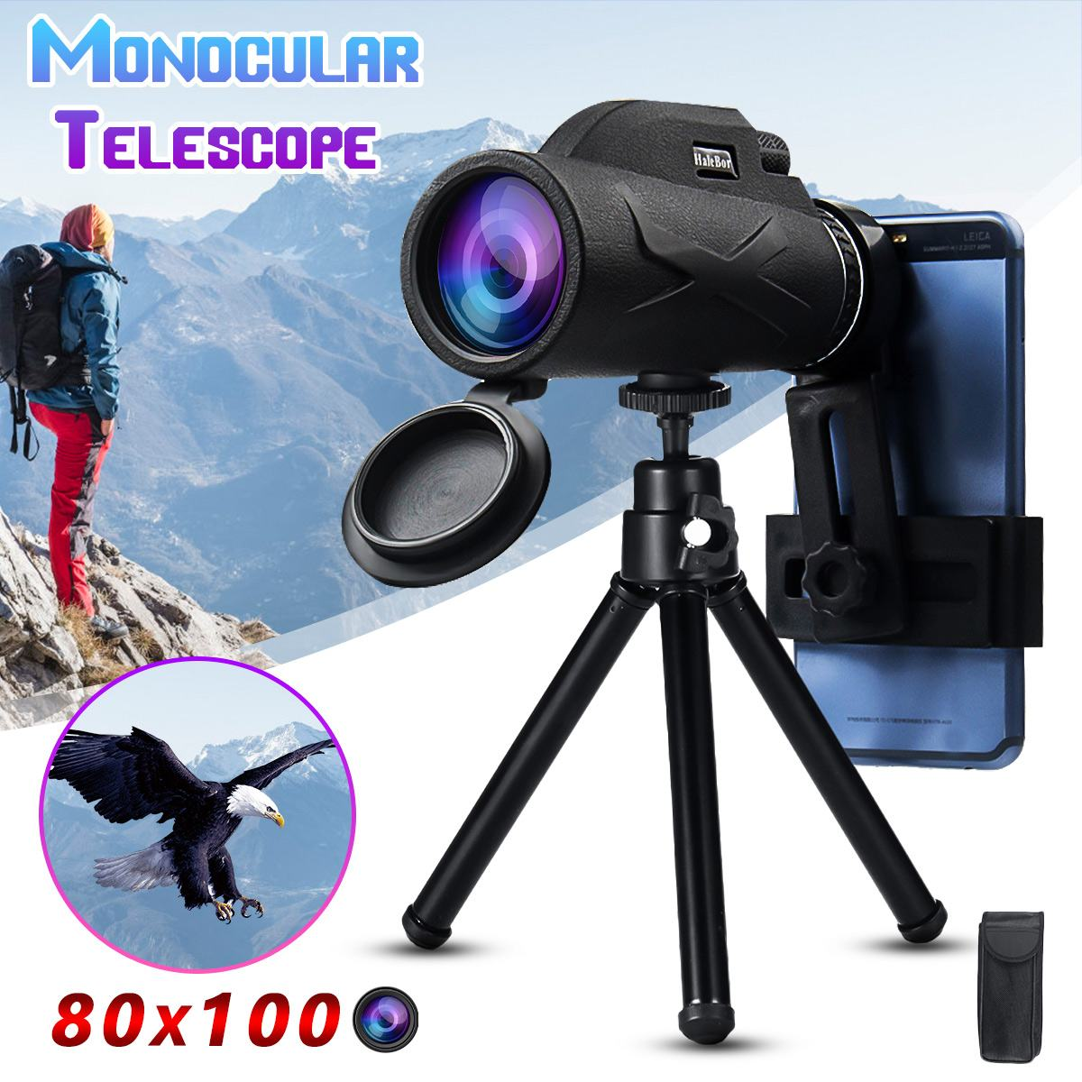 80x100 50x60 Magnification Portable Monocular Telescope Binoculars Zoom Great Handheld Telescope Military HD Professional Huntin