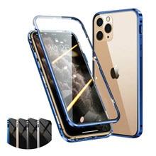 O lado dobro moderou o amortecedor claro completo da capa do protetor da tela de vidro 360 ° para o iphone 12/12 pro max