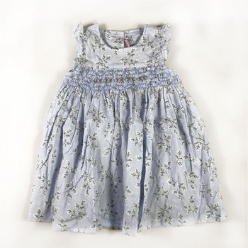 Sweet Little Girls Floral Print Dress Smocked Hand Made Western Fashion Vintage Summer Fly Sleeve Bow Dress