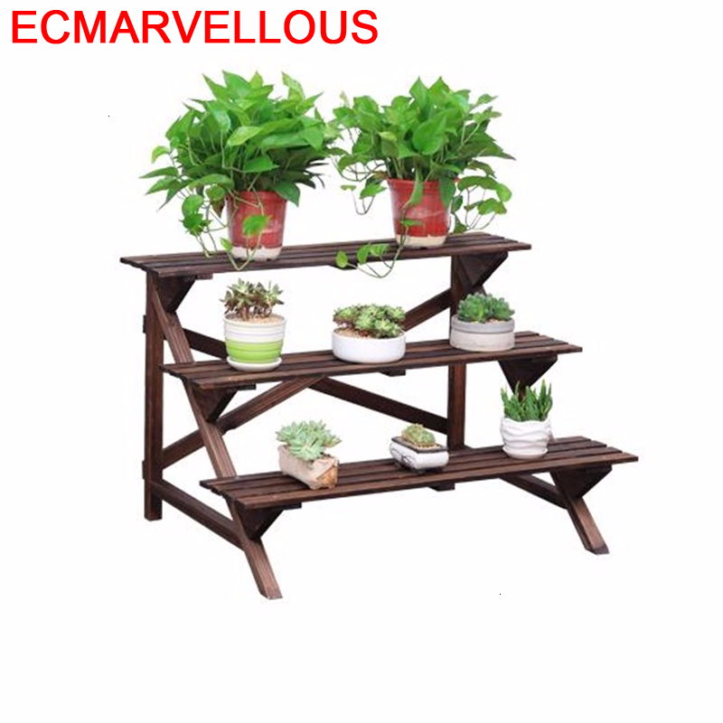 Suporte Flores Etagere Plante Wood Indoor Varanda Table Garden Shelves For Dekoration Shelf Outdoor Flower Rack Plant Stand