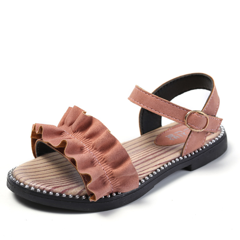 Kids Sandals Toddler Baby Girls Sandals Pearls Crystal Ruffles Princess Shoes Slippers Comfortable Casual Summer Children Shoes