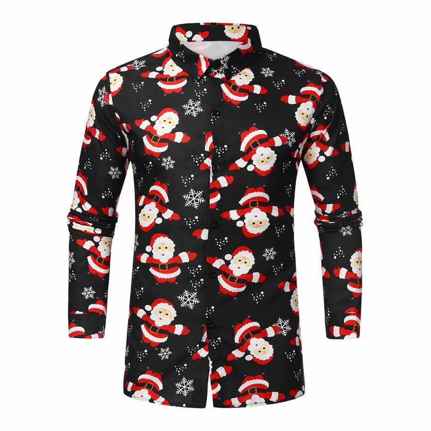 New Fashion Men Christmas Shirts Autumn Casual Clothes Snowman Printed Long Sleeve Slim Tops Blouse Male Turn Down Collar Shirts