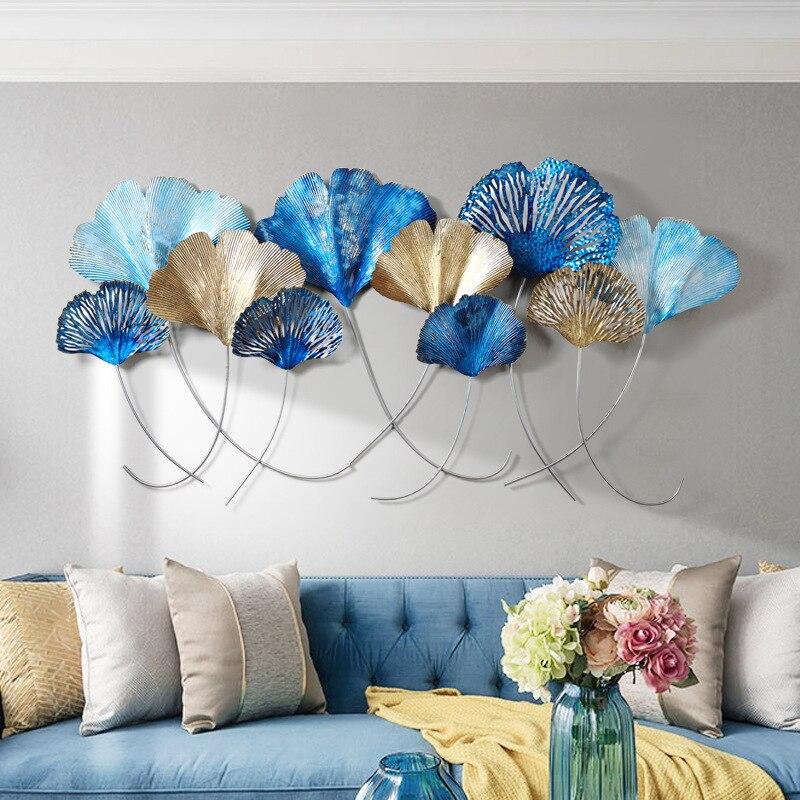 Креативные 3D скандинавские украшения дома 3D железные листья гинкго настенные подвесные гостиной фоновые стены в комнате decoracion habitacion - 2