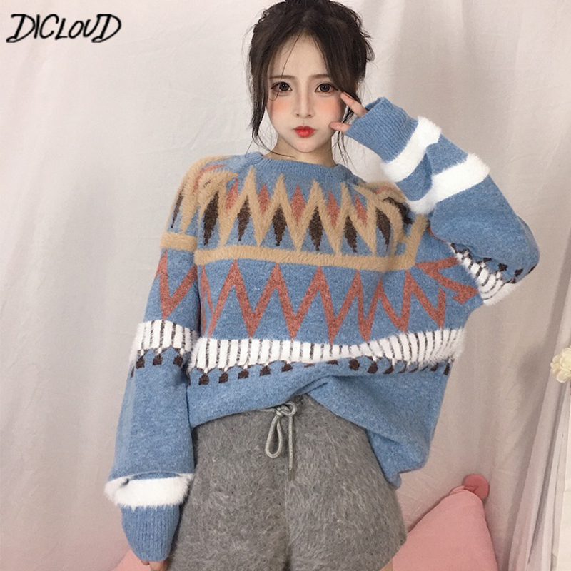 DICLOUD Korean Loose Sweaters Women Winter Long Sleeve Pullovers Ladies O-Neck Tops Woman Harajuku Thick Woolen Clothes Female