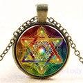 Красивое креативное винтажное ожерелье-цепочка с шестигранной звездой кабошон с фото, очаровательные женские подвески, модные украшения в ...