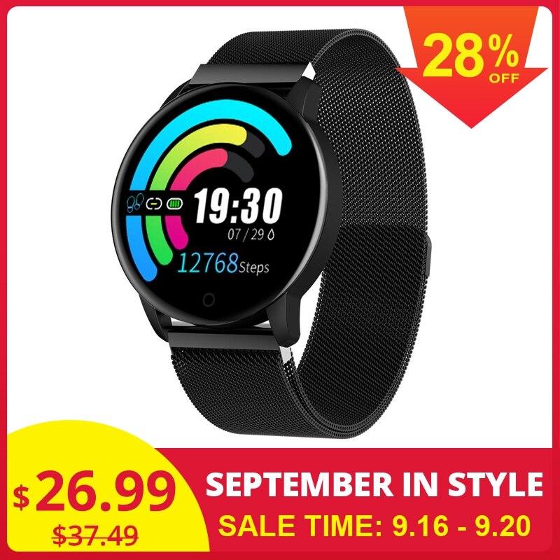 Newwear Q20 Smartwatch Relógio Inteligente Monitor de Pressão Arterial e Freqüência Cardíaca Esportes bluetooth Moda Pulseira Homens de Fitness Rastreador Q8 Q9