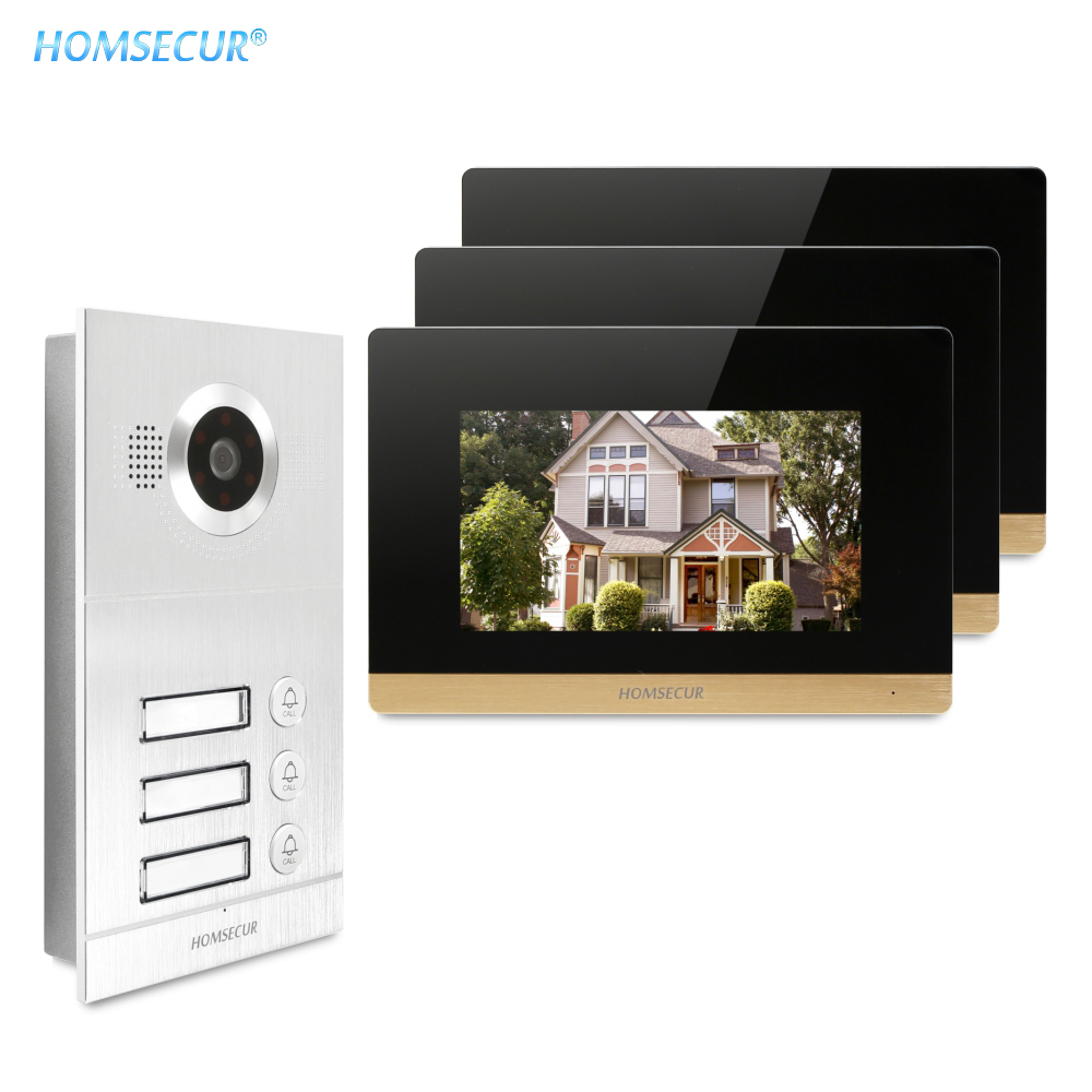 7inch Video&Audio Smart Doorbell With Recording & Snapshot 800TVL For 3 Apartment  BC121-3S + BM716-G