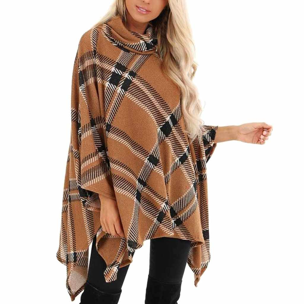 Blouse and Top Women V-Neck Irregular Plaid Cloak Loose Shawl Cardigan Sweater Coat Blouses Elegant Bow Neck Lady Casual Top