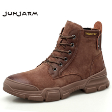 JUNJARM Autumn Winter Men Boots Vintage Style Shoes High Quality Motorcycle Fashion Warm Casual