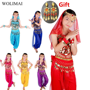Dance Cloth Belly Costumes Set Kids Oriental Dance Girls Belly Dancing India Belly Dance Clothes Bellydance Child Kids Indian indian princess belly dance tulle feather party mask