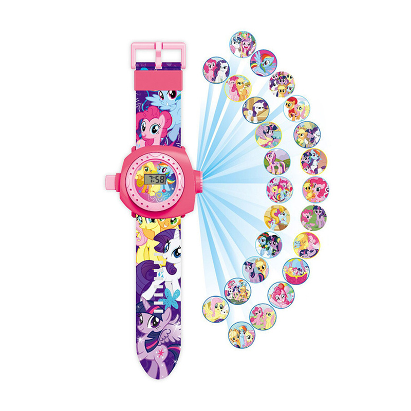 Original My Little Pony Cartoon 3D Projection Watch Toys Rainbow Unicorn Pony Anime Model Toy Children Christmas Gift 13XS
