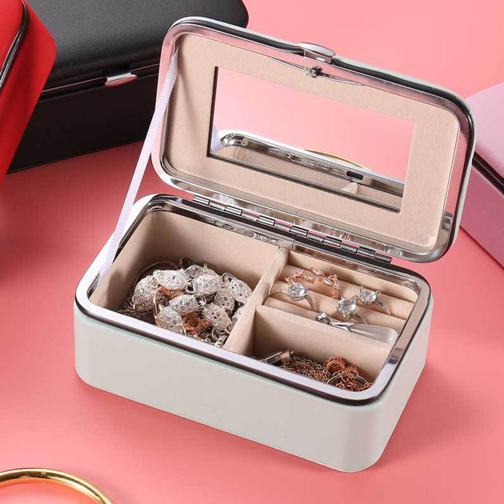 Portable Jewelry Box Storage Organizer Mirror Leather Women Earring Ring Necklace Jewelry Accesories Multifunctional Storage Box