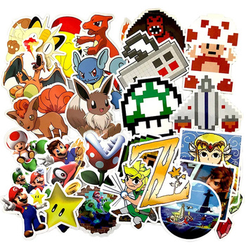 Game Anime Pixel Stickers Super Marioes bros Zeldaes Pokemonal Sticker For Wall Decor Fridge Laptop Car No Repeat - discount item  23% OFF Classic Toys