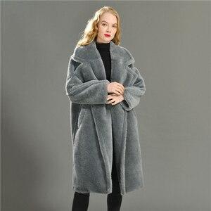 Image 4 - נשים 100% אמיתי כבשים Shearling מעיל מזדמן מעיל סתיו חורף ארוך שרוול דש פרווה הלבשה עליונה נשי צמר דובון מעיל