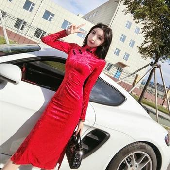 2020 Spring Women Chinese Traditional Cheongsam Dresses Oriental Style V-neck Long Sleeve Qi Pao Lace Modern Qipao Velvet Dress