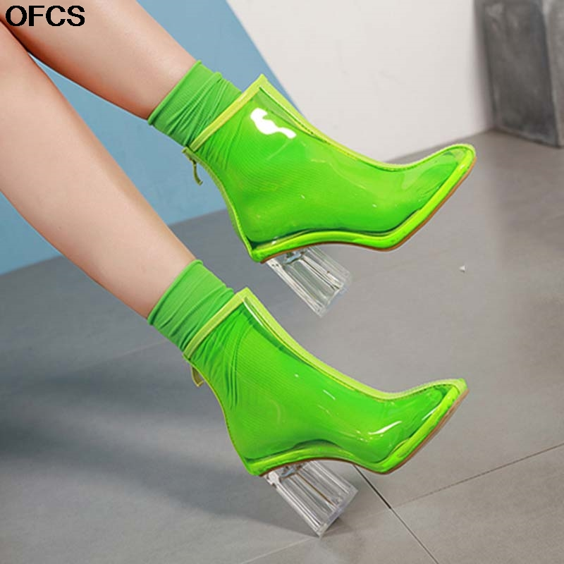 2020 New Autumn PVC Boots Women Boots Sandals Sexy Transparent Boots Clear Chunky heels Mujer Round Toe Shoes Zipper Women Shoes