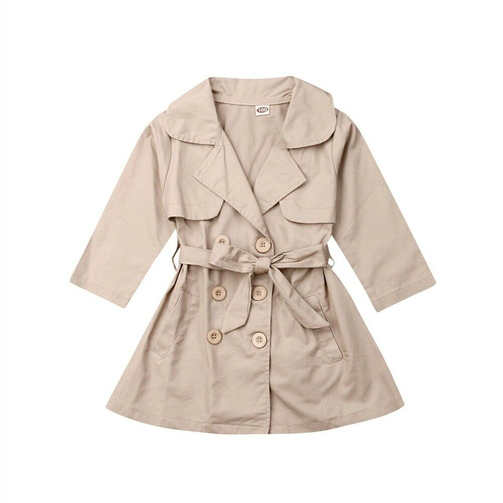 2-7T Baby Girls Clothes Kids Girls Autumn Button Long Trench Coat Jacket Outerwear Parka Overcoat Top