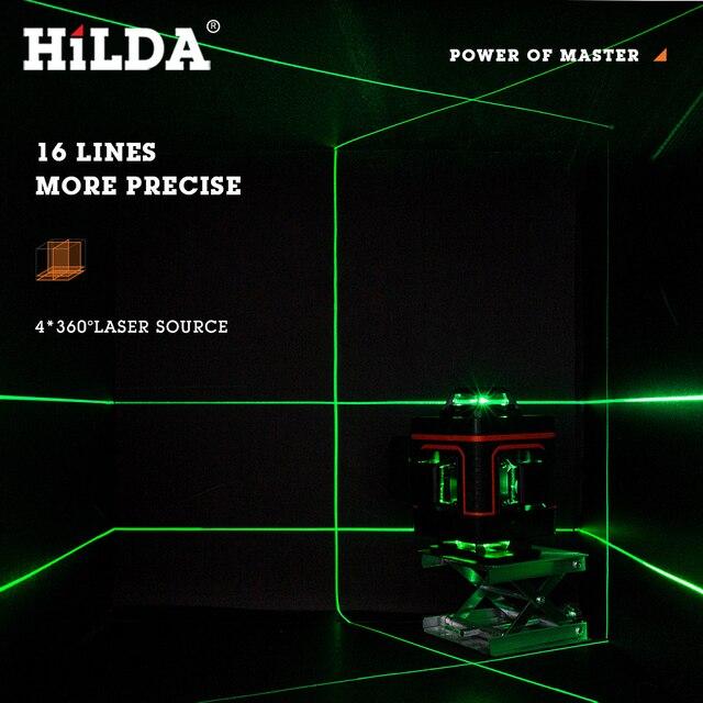 HILDA 12/16 линии 3/4D лазерный уровень самонивелирующийся 360 горизонтальный и вертикальный 6