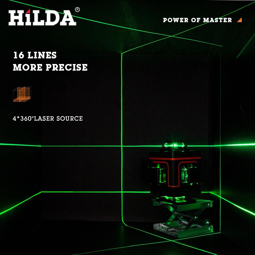 home improvement : HILDA 12 16 Lines 3 4D Laser Level Level Self-Leveling 360 Horizontal And Vertical Cross Super Powerful Green Laser Level