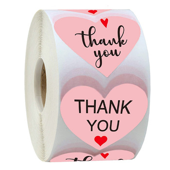 50-500pcs Thank You Stickers  Pink Stickers for Company Giveaway Birthday Party Favors Mailing Supplies for Boutique Bags 1