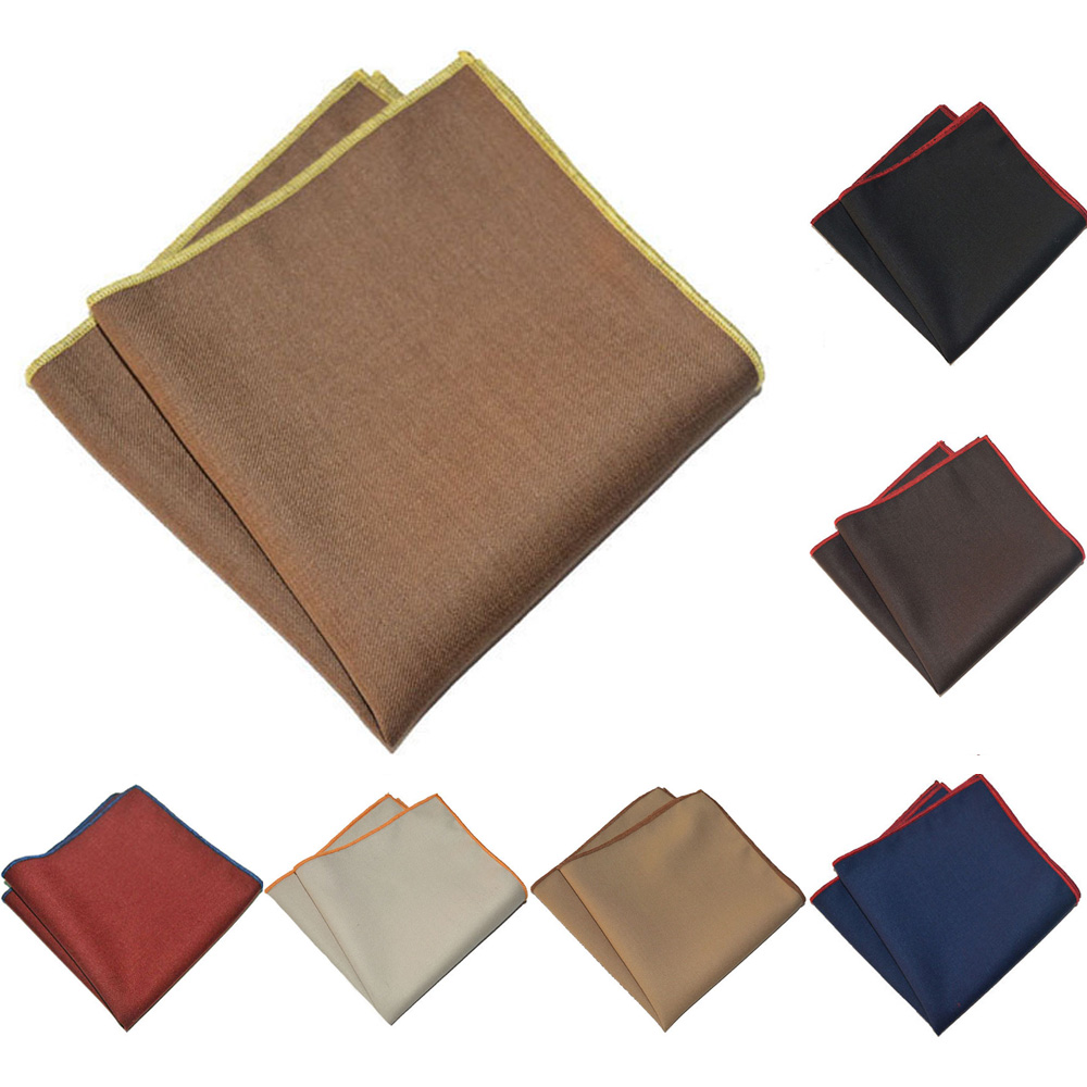 Men Business Handkerchief Colorful Rolled Edge Pocket Square Cotton Party Hanky