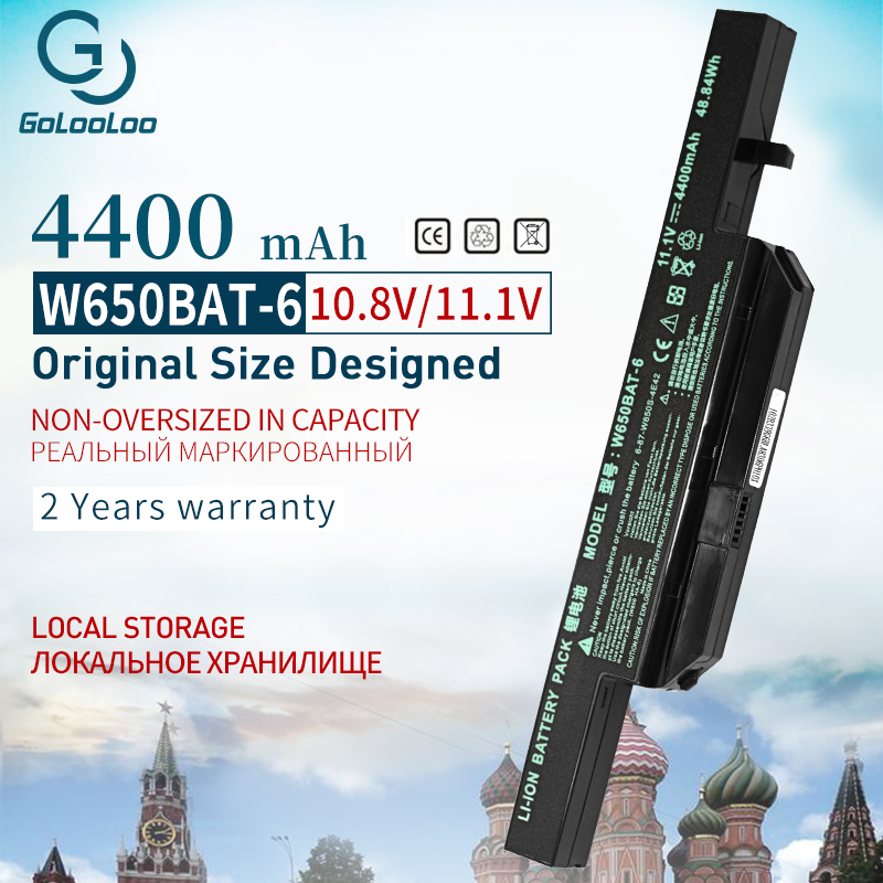 Golooloo 6 CELL 11.1v 4400mAh Laptop Battery For Hasee K610C K650D K570N K710C K590C K750D Series Clevo W650S W650BAT-6 Batterie