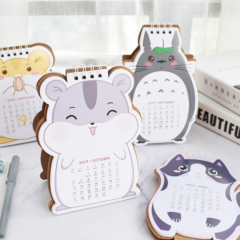 2020 Cartoon Hamster And Cat Mini Desk Calendar DIY Table Calendars Daily Schedule Planner 2019.09-2020.12