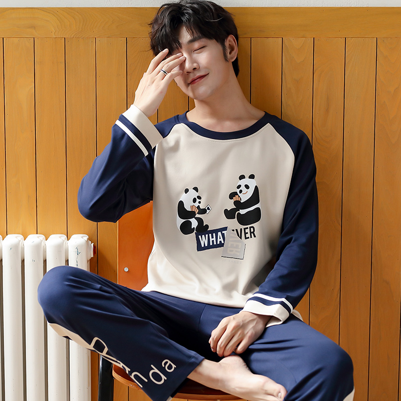 Pajamas For Men Sleepwear Men's Pure Cotton Cartoon Panda Sleep Suit Pajama Set Male Mens Pyjamas Overal For Sleeping Nightwear