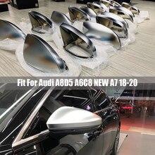 Lhd espelho retrovisor capa caps para audi novo a6 c8 a7 a8 d5 2018 2019 mate prata espelho lateral do carro capa substituição
