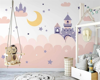 beibehang Customized new Nordic hand-painted pink clouds romantic castle children background wallpaper wall papers home decor